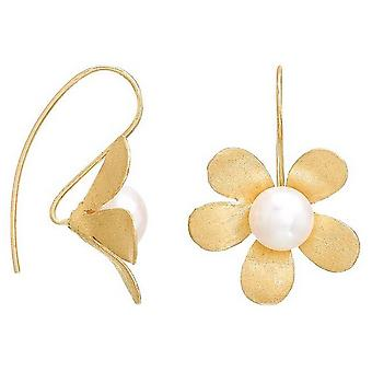 Pearls of the Orient Brushed Daisy Drop Earrings - Gold/White