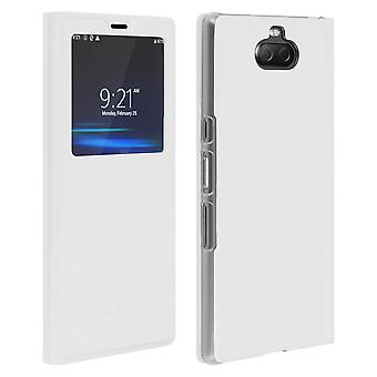 Smart view window flip case for Sony Xperia 10, slim cover - White
