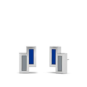 Nova Southeastern University Sterling Silver Asymmetric Enamel Stud Earrings In Blue and Grey