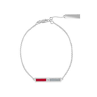 The Ohio State University Sterling Silver Diamond Bar Chain Bracelet In Red and Grey