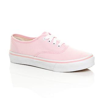Ajvani Womens canvas lace up pumps plimsolls trainers sneakers skate shoes