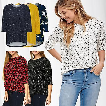 JDY Women's Print Shirt 3/4 Half Sleeve Longsleeve Only Top Pattern Blouse Top