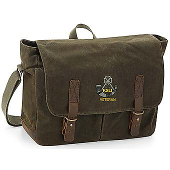 Kings Shropshire Light Infantry Veteran - Licensed British Army Embroidered Waxed Canvas Messenger Bag