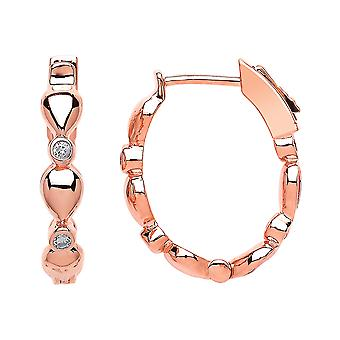 Jewelco London Ladies Rose Gold-Plated Sterling Silver Cubic zirconia Inside Outside Eternity Hoop Earrings 25mm