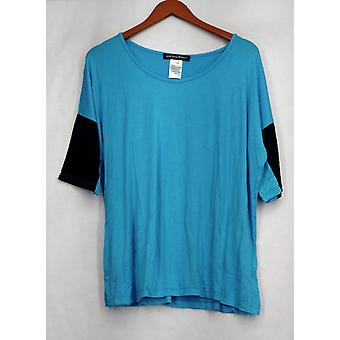 aDRESSing Woman Top Knit Colorblocked Sleeve Blue / Black Womens A409565