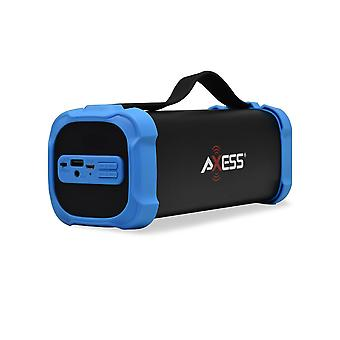 Axess Portable Bluetooth Media Speaker With 3.5mm Aux Jack and FM Radio - Blue
