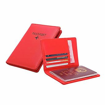 Passport holder in PU leather, red