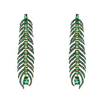 Long Peacock Feather Earrings Green CZ Yellow Gold Statement Drop Leaf Gemstone
