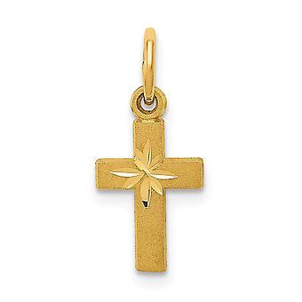 14 k gul guld Solid Satin gnistre-Cut tekstureret tilbage Cross charme -.6 gram - foranstaltninger 12x8mm