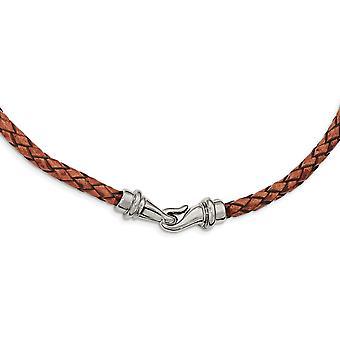Edelstahl poliert gewebt braun Leder Halskette Schmuck Geschenke für Frauen - Länge: 16,25 bis 19,5
