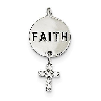 925 Sterling Sølv Solid Skjult kausjon Polert tilbake CZ Cubic Zirconia Simulert Diamond Cross Faith Slide Smykker Gaver