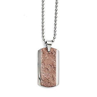 Stainless Steel Brown IP verguld fancy kreeft sluiting gepolijst en getextureerde ketting 24 Inch sieraden geschenken voor vrouwen