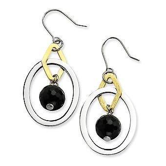 Stainless Steel 14k Gold Plated Dangle Shepherd hook and Polished Circles With Simulated Onyx Earrings Jewelry Gifts for