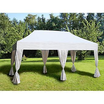 Vouwtent/Easy up tent FleXtents Steel 3x6m Wit, incl. 6 decoratieve gordijnen