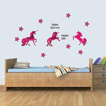 3 x Pink Unicorn & Stars Childrens Wall Art Decal Vinyl Stickers Girls Bedroom Nursery