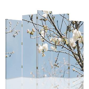 Dekorativa rumsavdelare, 5 paneler, dubbelsidig, canvas, blommande gren 1