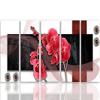 Cinque parti immagine su tela, Pentaptych, tipo C, composizione orchidea