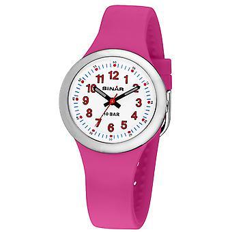 SINAR mládež Sledujte deti náramkové hodinky Analog Quartz silikónová stuha XB-35-4 ružová