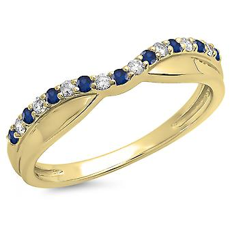 Dazzlingrock Collection 14K Round Blue Sapphire & White Diamond Anniversary Wedding Contour Guard Band, Yellow Gold