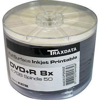DVD-R 8 X TRAXDATA FF White Full Face Inkjet Printable disco vuoto - mandrino 50 DVD registrabili