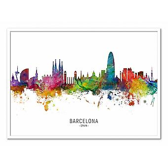 Art-Poster - Barcelona Spain Skyline (Colored Version) - Michael Tompsett