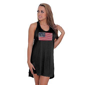 F1106NIG06 - Women's USA Flag Summer Tank Beach Dress