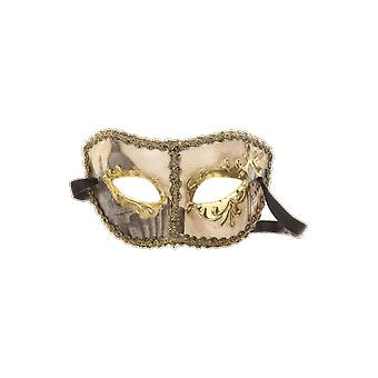 Gold and cream Venetian Columbina Mask Masquerade Ball Costume