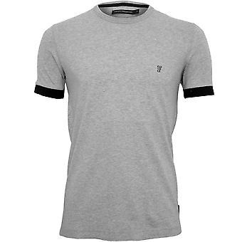 Französisch Verbindung Kontrast Manschette Rundhals Jersey T-Shirt, grau Melange
