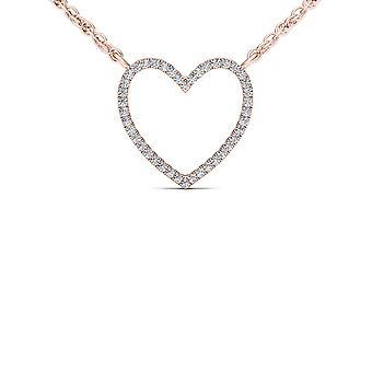 Igi certified solid 10k rose gold 0.10 ct diamond bold heart pendant necklace