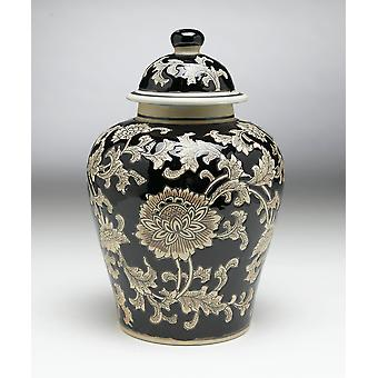 AA Importing 59727 Black And Cream Floral 10 Inch Ginger Jar