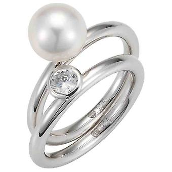 Adriana ring silver 925 rhod. Zirk. Freshwater round white 8-9 Romantica A143-52