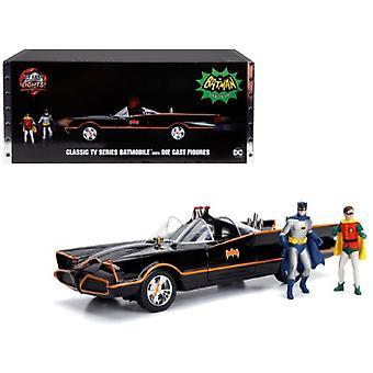 Classic Tv Series Batmobile With Working Lights, And Diecast Batman And Robin Figures 80 Years Of Batman 1/18 Diecast Model Car Par Jada