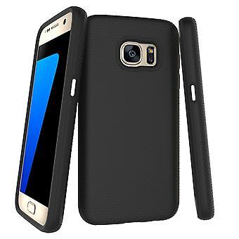 Para la funda Samsung Galaxy S7, black Armor Slim Cubierta protectora del teléfono de protección a prueba de golpes