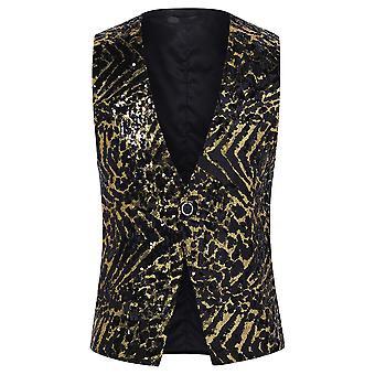 Allthemen Men's Suit Vest V-Neck Sequins Casual Vest