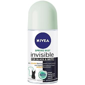 Nivea Invisible For Black & White Deodorant Roll-On, Spring Mist, 50 ml