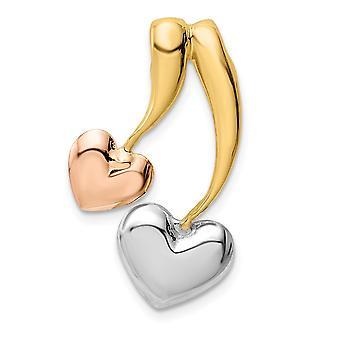 14k gul og rose guld og hvid Rhodium poleret Kærlighed Heart Chain Slide smykker Gaver til kvinder