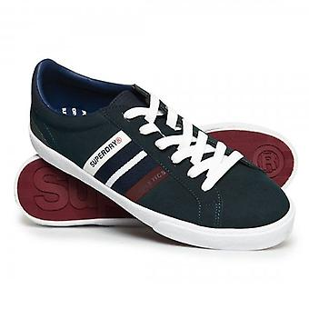 Superdry Vintage Court Trainers Highland Green Navy Y2F
