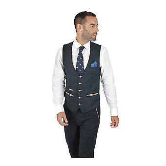 Marc Darcy Marc Darcy Glen Navy Blauw Tweed Vest