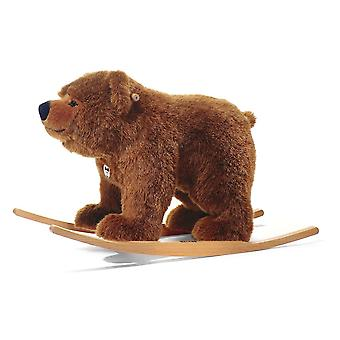 Steiff Urs Rocking Plush Bear 70cm Mottled Brown Rocking Horse
