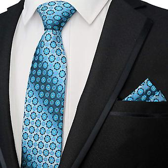 Green & blue geometric pattern tie & pocket square set
