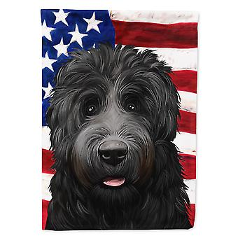 Black Russian Terrier American Flag Flag Canvas House Size