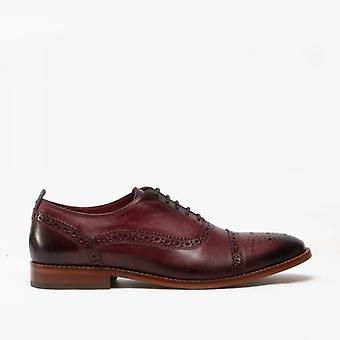 Base London Cast Mens Leather Brogue Shoes Bordo