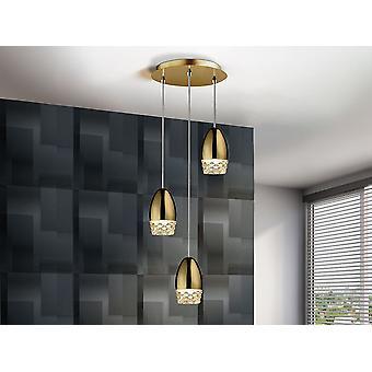 Schuller Alessa - Lampe ronde de 3 lumières, en métal, finition dorée. Nuances de verre moulé. Longueur réglable. - 553350