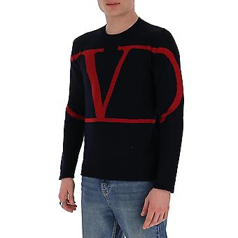 Valentino Tv3kc03v5ffi52 Mænd's Sort Cashmere Sweater