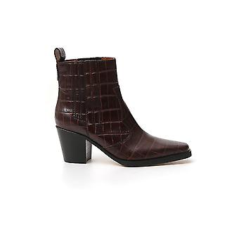 Ganni S1025979 Women's Brown Leather Ankle Boots