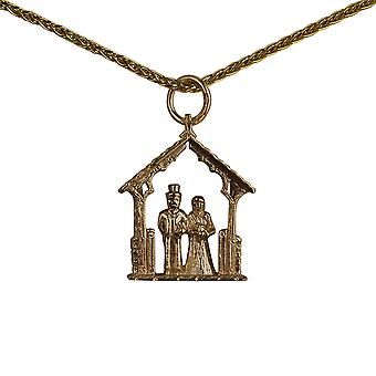 9ct Gold 23x16mm Bride and Groom in Lychgate Pendant with a spiga Chain 16 inches Only Suitable for Children