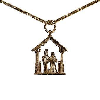9ct זהב הכלה 23x16mm החתן בתליון ליצ עם שרשרת spiga 16 אינצ'ים מתאים רק לילדים