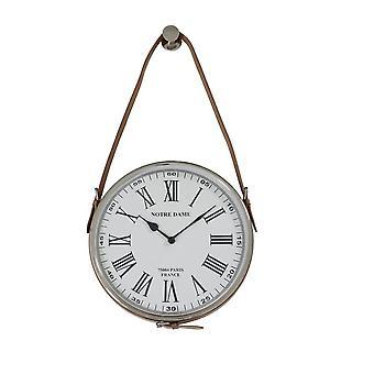 Light & Living Clock 30cm Notre Dame Nickel Leather Brown