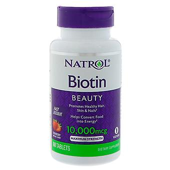Natrol biotin beauty, 10000 mcg, tablets, strawberry, 60 ea