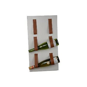 Stojan na víno nástenné kovové biele 3 fľaše